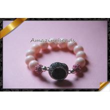 Rosa pulseiras, Shamballa pavimentar cristal clay pulseiras com Druzy jóias (CB013)
