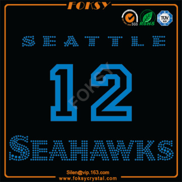 Seattle Seahawks 12 appliques en strass satiné