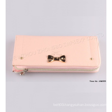 New Yong Lady Bowknot Leather Wallet with Zipper