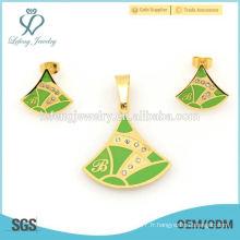 Ensemble de bijoux en acier inoxydable vert et doré personnalisé, ensembles de conception de mode très bon marché en alibaba