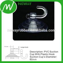 Copas de sucção de gancho grandes roscadas com PVC transparente de 60 mm