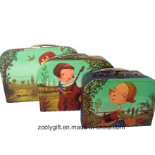 Colorful Printed Paper Cardboard Suitcases Boxes with Handle