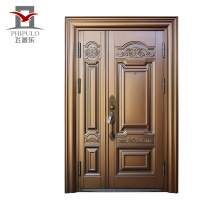 Corrosion copper imitating entry steel door with main gate design