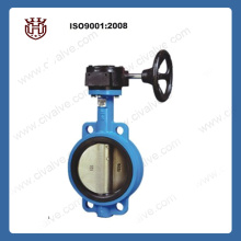 Worm gear operated wafer butterfly valve