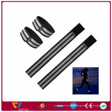 Black reflective joking safety wristband / elastic polyester reflex armbands