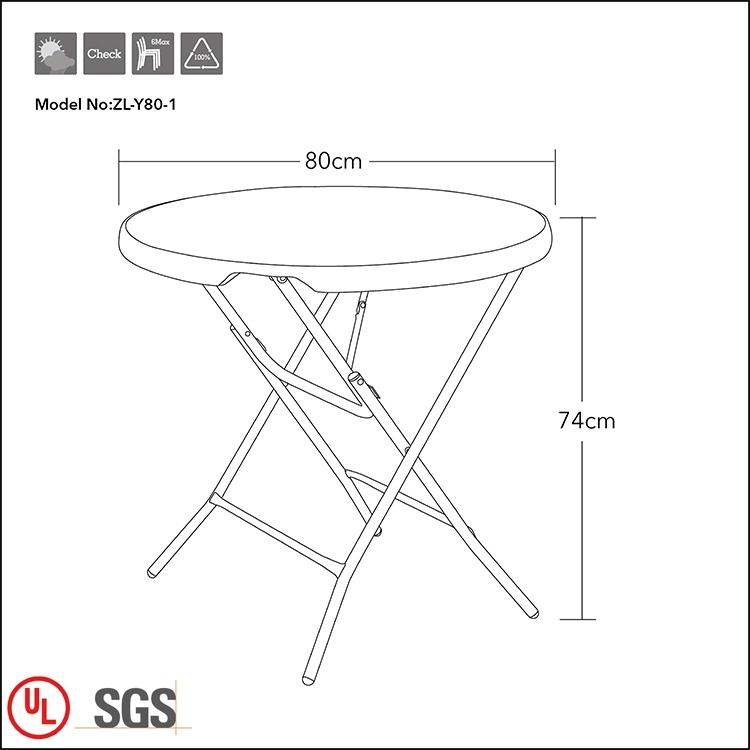 Normal Height Round Plastic Table