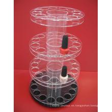 Venta al por menor cosmética Unidades de giro de encargo Cubierta de tabla 4-capa que hace girar el estante de acrílico