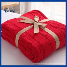 100% Baumwolle rote Farbe Baumwolle Decke (QHD887609)