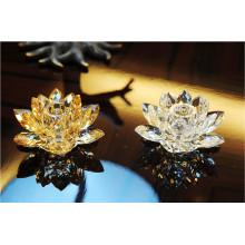 Bougeoir en cristal de forme de fleur de Lotus pour la décoration