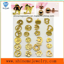 Shineme Fashion Jewelry Stainless Steel Plating Gold Ear Stud