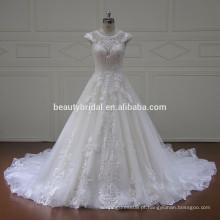 Chapel train cap sleeve vestido de casamento de luxo