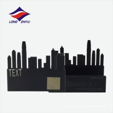 Suporte de cartão de nome de logotipo personalizado preto e preto do níquel