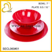 vaisselle en plastique de haute qualité en mélamine (deux assiettes, bol)