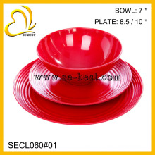 high quality plastic tableware melamine dinner set (two plates, bowl)