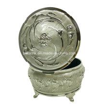 White Metal Jewelry Box, White Round Jewelry Box