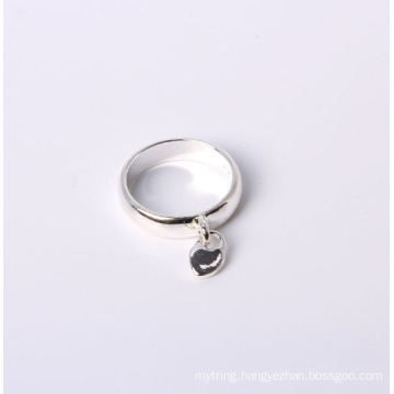 Simple Style Jewelry Ring Silver Plated with Heart Charm