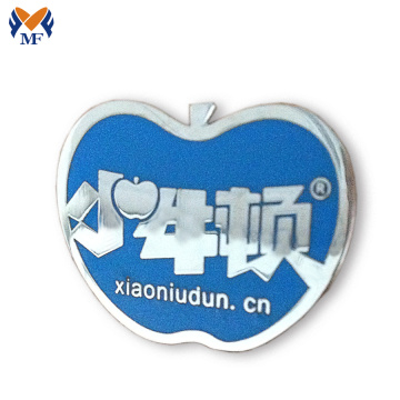 Aangepaste appellogo vorm metalen badge safty pin