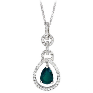 14k White Gold Over Silver Emerald Pear Diamond Pendant