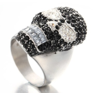 Men jewelry black white diamond skull rings