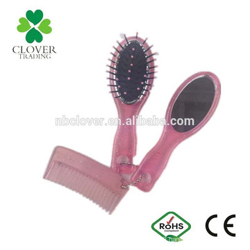 pocket hair brush comb mirror set