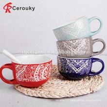 Custom design lace glaze large capacity ceramic soup mug