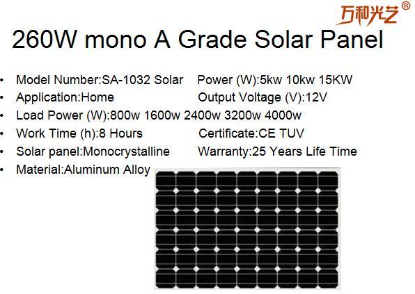 260w Mono A Grade Solar Panel