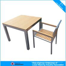 Mobiliário de exterior moderno atacado jardim de madeira mesa e cadeira de plástico