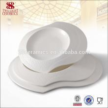 Костяного фарфора посуда посуда авиакомпания белые керамические пластины Индии