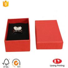 Caja de regalo de empaquetado de papel de joyería de anillo personalizado