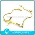 New Custom Design 18K Gold Thin Chain Hallmark Stainless Steel Womens Crystal Cross Bracelet for Wrist Made In China