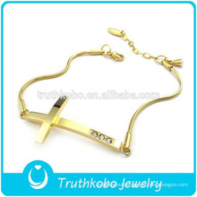 New Custom Design 18K Gold Thin Chain Hallmark Stainless Steel Womens Crystal Cross Bracelet for Wrist Made In China
