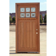 6 Panel Glass Walnut Veneer Solid Wood Exterior Wood Doors