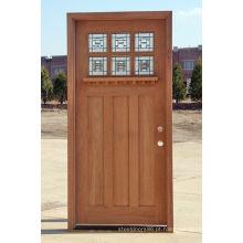 6 portas de madeira exteriores de madeira maciça do folheado da noz do painel