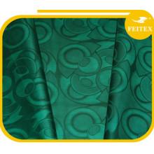 Moda Verde Diseño Tela Ropa Africana Guinea Brocade Algodón Hilado Material Bazin Riche Textiles Blandos China Fábrica Feitex