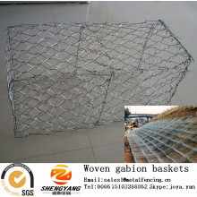Sales 2mx1mx1m hexagonal stone cages manufacturer barrier wall stone gabion wire mesh river used machine woven gabion baskets