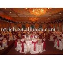 Couverture de chaise de satin, couverture de chaise de Banquet/fotel, ceinture en satin