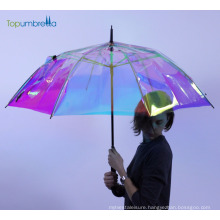 Topumbrella 2018 new invention Design Rainbow clear wedding gift umbrella for wedding guests