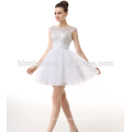 2017 aliexpress hot sell white color western evening dinner dress short simple design backless beaded evening dress for seniors