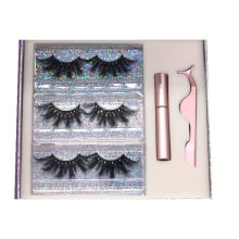 SL015H Hitomi Handmade Mink Eyelashes soft natural mink eyelashes Fluffy 25mm Magnetic Eyelashes with Eyeliner and tweezers
