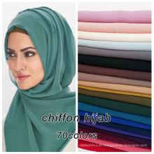 Top venda de alta qualidade 71 cores disponíveis muçulmano dubai bolha chiffon hijab atacado