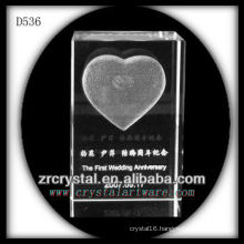 K9 3D Laser Subsurface Love Inside Crystal Rectangle