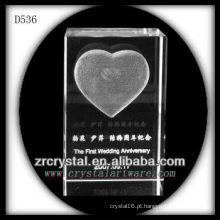 K9 3D Laser subsuperfície amor dentro retângulo de cristal