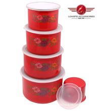 Tazón de fuente de almacenaje del esmalte del color rojo 5PCS fijado con la tapa de los PP
