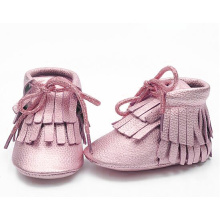Leather Baby Boots Moccasins Shoelace