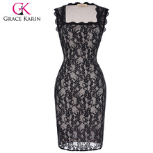 Grace Karin mujeres sin mangas cuello cuadrado Vintage Club Wear Bodycon vestido de fiesta de encaje CL010448-1
