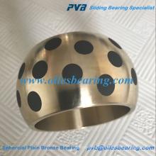 Cojinete incrustado del grafito de la aleación de cobre del aceite SAE430B, arbusto de acero esférico de cobre amarillo de la alta calidad, transporte esférico del bronce liso AB-2