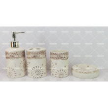 Ceramic Bathroom 4 Pieces Set with Hand Painted Decorative