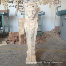 furniture parts wood lion capitals animal wood corbel woman carved wood carving lion column