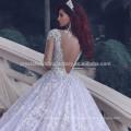 2017 Vintage Muslim à manches longues Train Cathedral Plus Size Puffy Lace Ball Gown Robes de mariée MW970