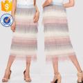 Malha em camadas saia plissada manufatura atacado moda feminina vestuário (td3098s)